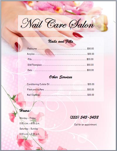 Nail Salon Price List Template Word