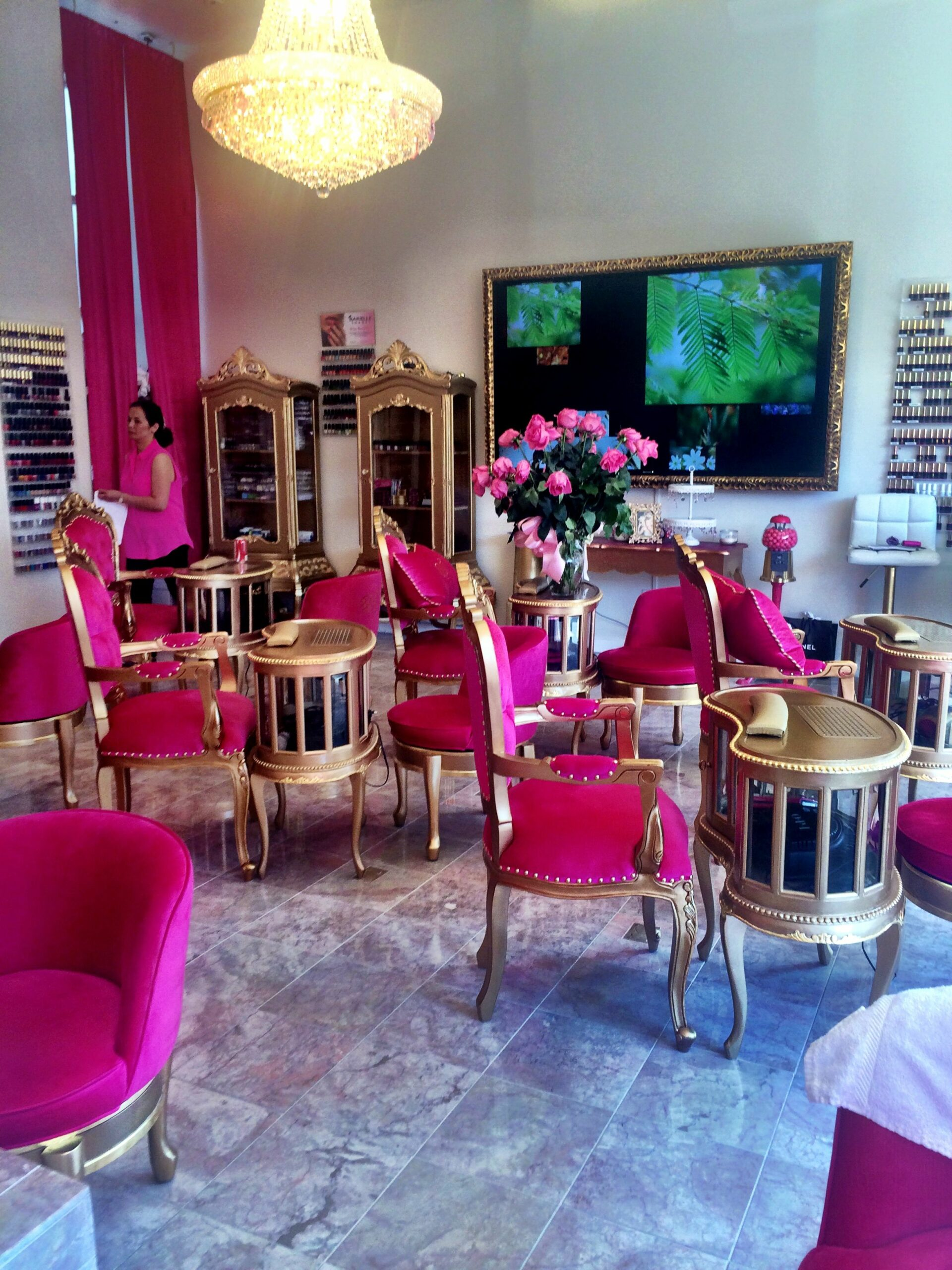 pink nail salon chairs
